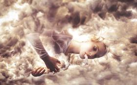Обои девушка, облака, мечты