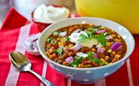 Обои ложка, миска, суп чили