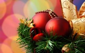Обои шары, елка, лента, красные, 2560x1600, золотая