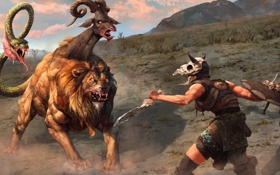 Обои змея, меч, лев, воин, змей, кость, щит
