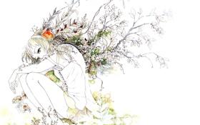 Картинка листья, девушка, ветки, арт, Vocaloid, Вокалоид, Gumi Megpoid
