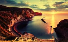 Обои Закат, Солнце, Море, Горы