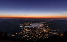 Картинка горы, ночь, город, огни, Германия, Бавария, озеро Тегернзе