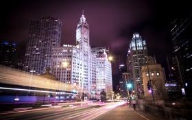 Обои ночь, город, огни, небоскребы, Чикаго, Иллиноис, Michigan