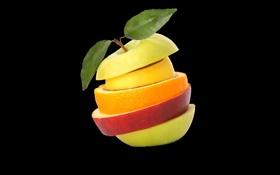 Картинка яблоко, апельсин, листик, черный фон, кусочки фруктов