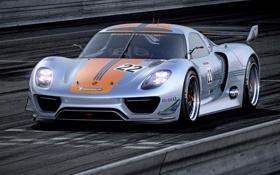 Обои Concept, фары, Porsche, автомобиль, 918, передок, RSR
