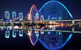 Картинка река, ночь, вода, огни, дома, мост, Южная Корея