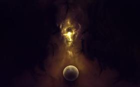 Обои звезды, свет, туманность, пространство, вселенная, планета, свечение