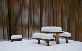 Картинка зима, снег, стол, скамья