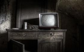 Обои фон, телевизор, шкаф
