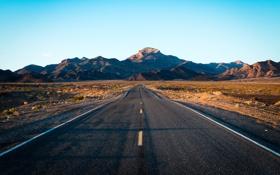 Картинка дорога, пейзаж, закат, горы, Death Valley