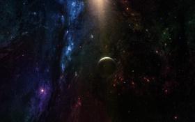 Обои звезды, спутник, одинокая, далекие, планета