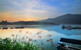 Картинка пейзаж, закат, озеро, корабли