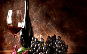 Картинка вино, красное, бокал, бутылка, виноград