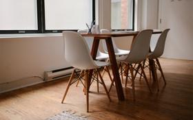 Обои стол, окна, стулья, стул, офис