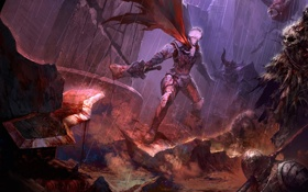 Картинка оружие, дождь, меч, битва, парень, колонна, нежить
