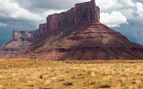 Картинка осень, небо, трава, тучи, скалы, гора, США