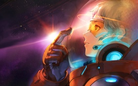 Обои девушка, космос, скафандр, Stargazer
