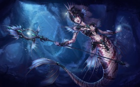 Обои девушка, русалка, арт, хвост, посох, под водой, League of legends