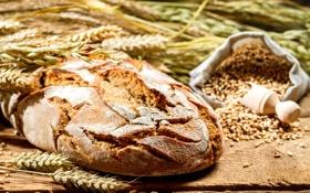 Картинка пшеница, стол, зерно, колоски, хлеб, колосья, мешочек