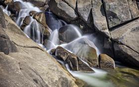 Обои водопад, река, камни, вода, природа