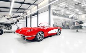 Обои красный, тюнинг, ангар, corvette, шевроле, диски, классика