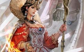 Обои девушка, огонь, корона, посох, королева, Queen of victory