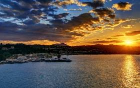 Картинка закат, Greece, вечер., причал, городок, sunrises, дома