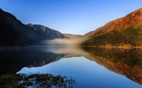 Картинка небо, деревья, горы, туман, озеро, утро