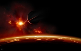 Обои облака, звезда, атмосфера, планета, спутник, ландшафт, свет
