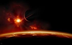 Картинка облака, поверхность, свет, ландшафт, звезда, планета, спутник