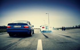 Картинка белый, гонка, бмв, mustang, BMW, драг, ford