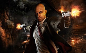 Картинка оружие, улица, пистолеты, мужчина, Hitman, выстрелы, Absolution