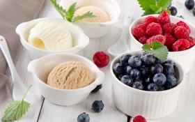 Обои ягоды, малина, черника, мороженое, мята, десерт, сладкое