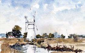 Картинка пейзаж, картина, мельница