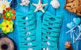 Картинка ракушки, seashells, still life, marine, starfish, wood, морская звезда