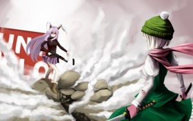 Картинка оружие, девушки, кровь, шапка, катана, шарф, арт