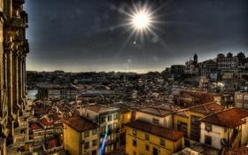 Картинка солнце, лучи, дома, обработка, Португалия, Porto