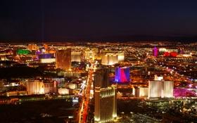 Обои ночь, город, огни, дома, Лас-Вегас, США, вид сверху