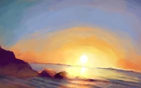 Обои море, солнце, закат, природа, камни, горизонт