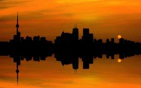 Картинка небо, солнце, облака, закат, город, отражение, башня