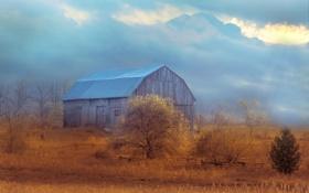Обои облака, сарай, ферма