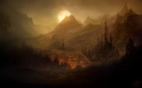 Картинка город, оружие, замок, огонь, луна, человек, гора