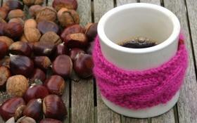 Обои Кофе, кружка, орехи, розовая повязка