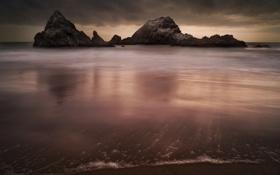 Картинка пляж, тучи, океан, скалы, экспозиция, Каллифорния