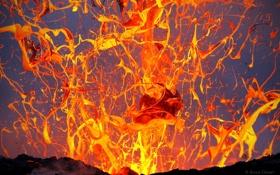 Картинка брызги, природа, вулкан, извержение, лава