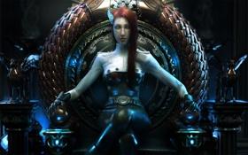 Обои девушка, металл, арт, трон, статуэтки, Wen-JR