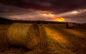 Картинка поле, закат, вечер, стог, сено