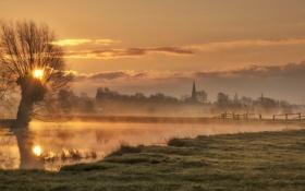 Картинка пейзаж, природа, туман, река