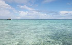 Обои пляж, небо, океан, остров, мальдивы